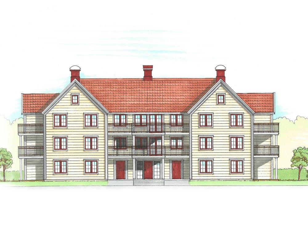 Stora Parkvillan – med 17 charmiga lägenheter från 2 rok 54 m2 till 5 rok i etage 110 m2.